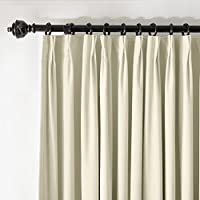 ChadMade Pinch Pleat 100W x 84L Blackout Lined Velvet Curtain Drapery Panel For Traverse Rod or Track, Living room Bedroom Meetingroom Club Theater Patio Door (1 Panel), Beige from ChadMade