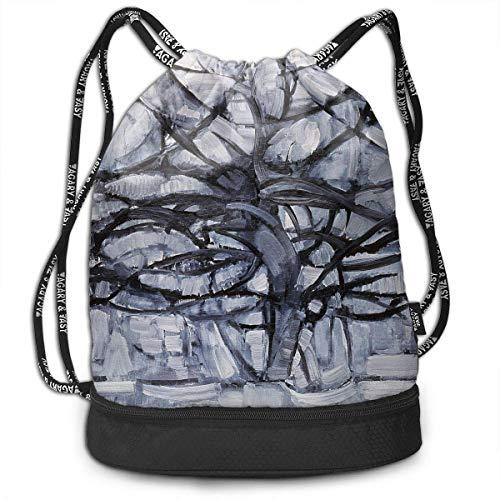 ziHeadwear Mondrian Gray Tree Print Drawstring Bags - Simple School String Bag