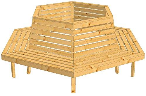 8.8.3238: produziert in Deutschland – grosse Baumbank sechseckig aus Lärchenholz vollmassiv – Baumbank mit Innendurchmesser 119cm - 3