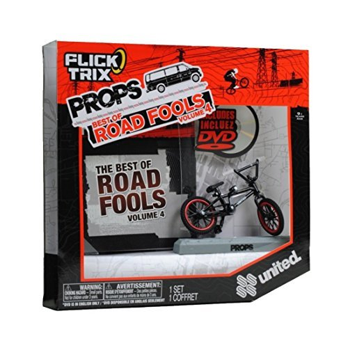 Spinmaster Flick Trix Fingerbike Real Bikes, Unreal Tricks BMX Bicycle Miniature Set - Black Color UNITED Bike with Display Base and DVD Props The Best of Road Fools Volume 4 by Flick Trix