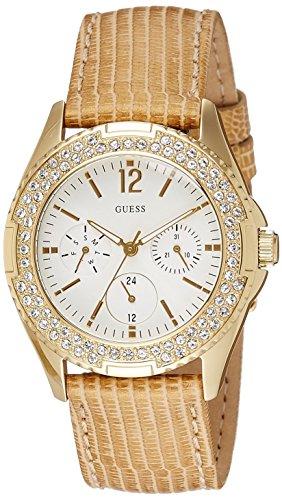 Guess Rock Candy W16574L1 – Reloj cronógrafo de cuarzo para mujer, correa de cuero color dorado (cronómetro, agujas luminiscentes)