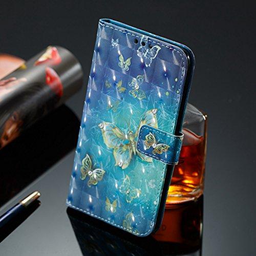 COZY HUT Xiaomi A2/Mi 6X Case, 3D Design Premium Luxury Diamond Bling Glitter PU Folio Leather Wallet Case Flip Notebook Cover Case For Xiaomi A2/Mi 6X - Golden Butterfly  COZY HUT