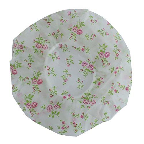 Sourcingmap® Femme Fleur Rose Motif bande élastique résistant à l'eau de douche de bain Cap