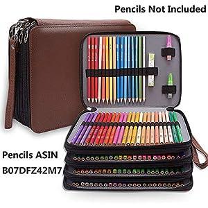 Estuche grande de piel sintética con 184 ranuras para lápices de colores, organizador de lápices impermeable, estuche de…