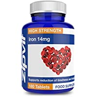 Iron 14mg, 180 Tablets, by Zipvit   Supports Cognitive Function and the Immune System   Reduces Tiredness & Fatigue