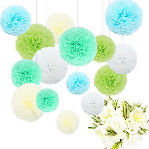 Feelshion 15x Papierblume Deko, Seidenpapier Pom Poms Pompons Set, für Geburtstag, Hochzeit, Baby Dusche, Parteien, Hauptdekorationen