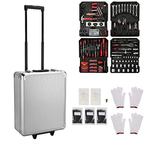 CremeBruluee 735 PCS Präzisionswerkzeuge Durable Werkzeugwagen-Set mit Aluminium-Legierung Carry Box Startseite