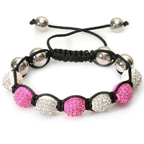 Hop-kugeln (DazzlingRock Collection Unisex-Erwachsener Perlen Kristall Armband Hüfte 10 Mm 7 Weiss & Neon Rosa Disco-Kugel Facettierte Perle Einstellbares Hop Ebnet)