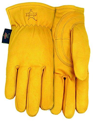 ndschuhe Professional Bull Rider Premium Ziegenfell Leder Arbeit Handschuh (3Pack), groß, Braun (Tier Handschuhe Braun)