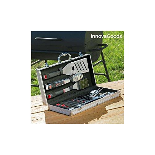 InnovaGoods Maletín de Utensilios para Barbacoas, Acero Inoxidable, Negro, 22x45x8 cm