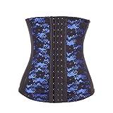 FeelinGirl Damen Fashional Elastisch Unterbrust Spitze Taillenmieder Trainings Cincher Corsage Körperformer Korsett Blau,Größe US-XXL, EU-42/44