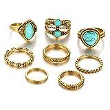 QiXuan Frauen Bohemian Vintage Silber/Gold Stack geschnitzt Ringe über Knöchel Türkis Ringe Sets.