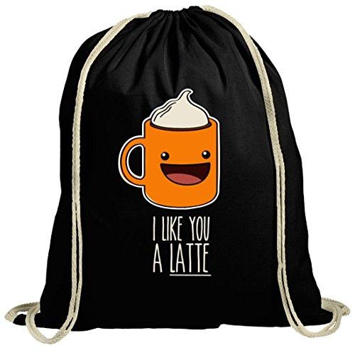 Geschenkidee natur Turnbeutel mit I Like You A Latte Motiv von ShirtStreet schwarz natur