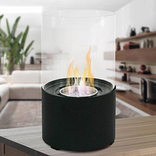 Biocamino bioetanolo design moderno per esterno interno tavolo oxford nero