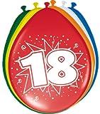 Folat Luftballons 18. Geburtstag Party-Deko 8 Stück bunt 30cm Einheits