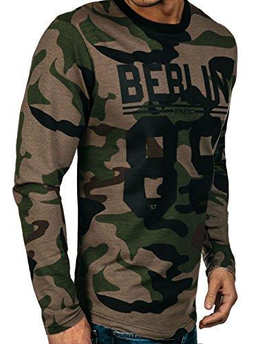 BOLF Herren Sweatshirt Langarmshirt Sweatjacke Pullover Pulli Classic 1A1 Motiv Khaki