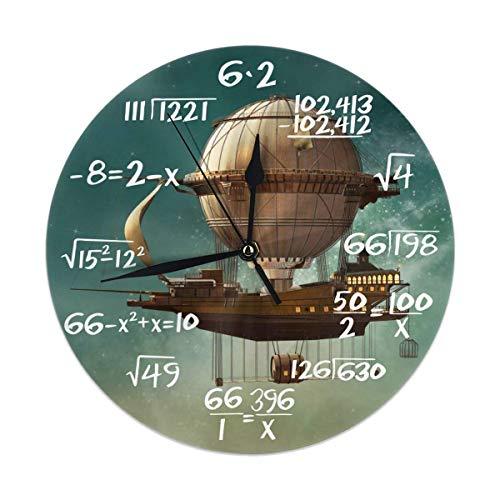 Uosliks Steampunk Airship Fairy Stardust Space Orologio da Parete Silent Non Ticking, Round Easy to Read for Home Office School Clock