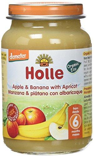 Holle Potito de Manzana, Plátano y Albaricoque (+6 meses) - Paquete de 6 x 190 gr - Total: 1140 gr