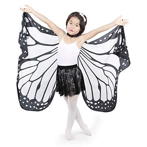 MUJUZE Soft Monarch Butterfly Carnival Festival Summer Cape Cloak Fancy Dress Costume Outfit Accessory Wings (black)
