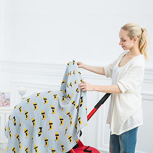 LifeTree Musselin Baby Wickeldecke Decken, 120 x 120cm 70% Bambus / 30% Baumwolle Baby Musselin Swaddle Decke
