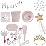 50 Teile Dekorations-Set Kinder-Geburtstag / Prinzessinnen-Party pink & silber - 50 Teile - Party-Deko Set Happy Birthday Mädchen