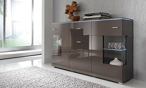Sideboard, Front Hochglanz Grau und Korpus Grau, mit 2 Türen mit Glaseinsatz, 1 Holtztür und 1 Schubkasten, Maße: B/H/T ca. 150/91/37 cm