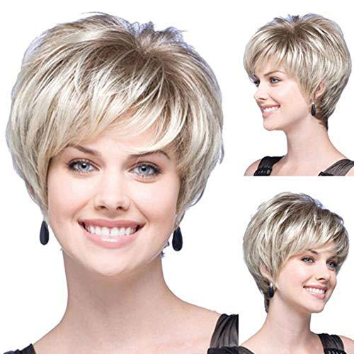 Wig Frauen Kurze Haare, Gradientenrose Net Atmungsaktive Mode Haar Natürliche Flauschig Glamouröse Ms. Frisur Für Alltags-und Halloween-Partys
