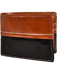 Amicraft Men's Tan Black Multi-Card Passcase Bifold Wallet (Sim/Memory Card Slot)