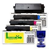 4 Toner Set für Kyocera FS-C5150DN / ECOSYS P6021cdn, TK-580 inkl. Tonerliga Reiseadapter