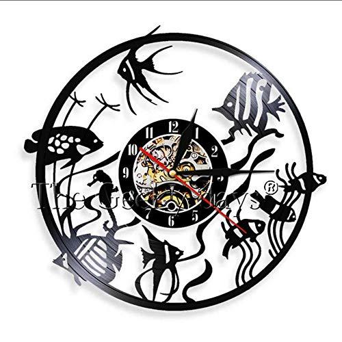 TIANZly Fisch Retro Vinyl Schallplatte Wanduhr Exklusive Handgemachte Tier Fisch Raumdekoration Uhr Aquarium Fisch Shop Wandkunst Show Raumdekoration