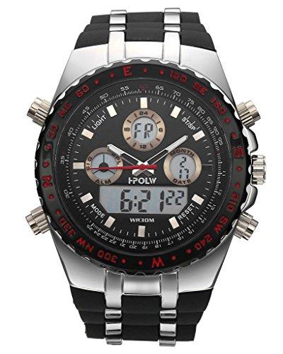 JSDDE Herren Armbanduhr Sportuhr Chronograph LCD Digital + Quarz Uhrwerk Kalender Wecker 2-Zeitzone 3ATM Multifunktionsuhr - 2017 Bis Halloween Tage