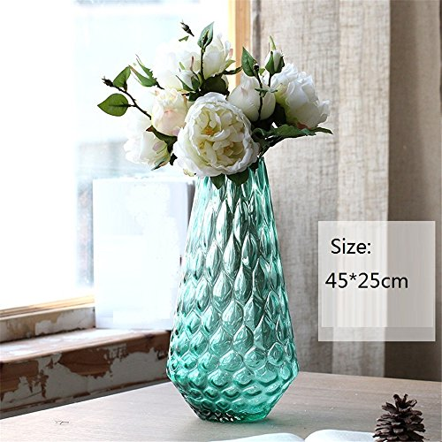 Nohope Modern European Style Village Blue Glass Vases Emulation Flower Peony Hydrangea Ornaments Living Room Restaurant Shop Home Decor Artificial Flowers Kit Mother's Day Gift