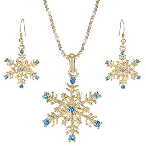 EVER FAITH® Cristal Autrichien Bal Flocon de Neige Pendant Parures Bijoux Ton d'Argent Clair N05160-1 Bleu (Ton d'Or)
