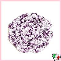 Piccolo centrino rotondo lilla sfumato all'uncinetto in filato di cotone - dimensione ø 22.5 cm - Handmade - ITALY