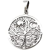 Solid Sterling Silver Solstice Tree of Life Yggdrasill Pendant Pagan (P024)