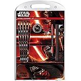 Star Wars VII La Fuerza despierta lápices, lápiz, goma, regla, sacapuntas y lápiz de la lata del caso del papel fijados