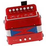 Accordéons à Touches Bouton 7 Clés Jouet éducatif Enfants Instrument De Musique - rouge