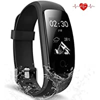 Fitness Tracker impermeabile Activity Tracker con cardiofrequenzimetro Smart Wristband Bluetooth wireless monitor contapassi sonno Smartwatch per Android e iOS smartphone, Black