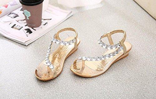 Wealsex Sandales Compensées Sandale Plate Orthopedique Perle Palet Strass Bijou Eté Bohême Glissement Tong Chaussures D'été Chaussures de piscine et plage Or Argent Femme Or