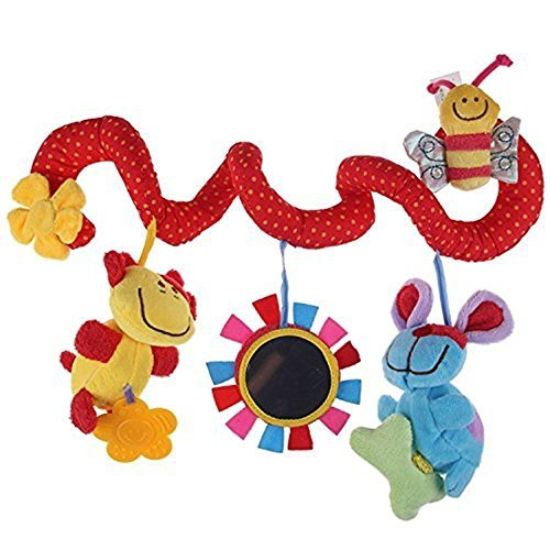 nabati Baby cot mobiles dog bee with Mirror Bell Baby Music Bed Hanging Cribs Toy-Baby Children Twisty Curly Pram Pushchairs Car Seat Cot Toy-Musical Bed Cartoon Gift Toys