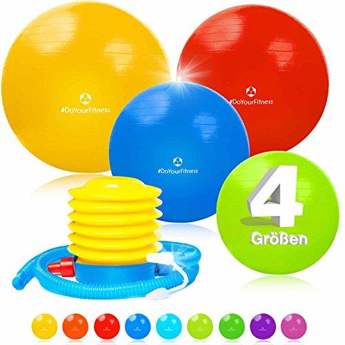 Gymnastikball Büroball Fitnessball / 9 Farben (Grün Blau Rot Pink Lila Silber Schwarz Gelb Türkis) / Inklusive Luftpumpe (Ballpumpe)/Rutschfeste Oberfläche / 75 cm/schwarz