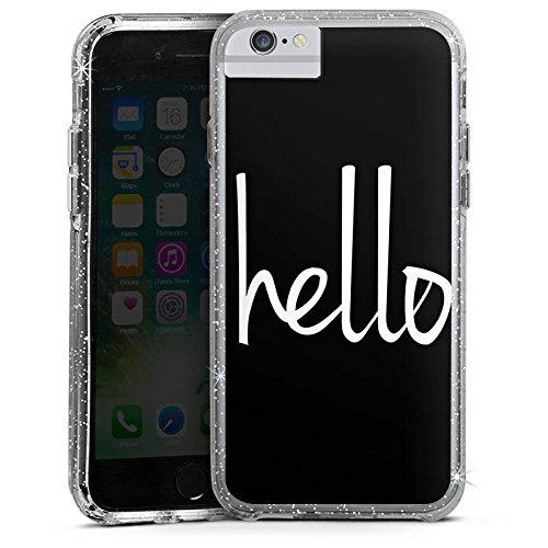 Apple iPhone 6s Bumper Hülle Bumper Case Glitzer Hülle Hello Hallo Statement Bumper Case Glitzer silber