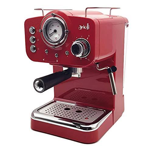 ARIELLI KM-501R Macchina Caffè Espresso Macinato/Cialde 2 Filtri per 1/2 tazze Vaporizzatore per tè o cappuccino Sistema di sicurezza Termometro 1100W 15bar 1.25L (Rossa)