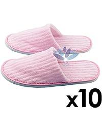 Pantuflas de algodón de un tamaño desechable cerrado para adultos Pantuflas de algodón para salón de spa para mujeres y hombres 10 pares - blanco 3EE8DKy