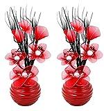 Flourish 796167 Fleurs artificielles en soie avec vase ovale pourpre noir violet 75cm, Verre, Pair of Red, 10x10x32 cm