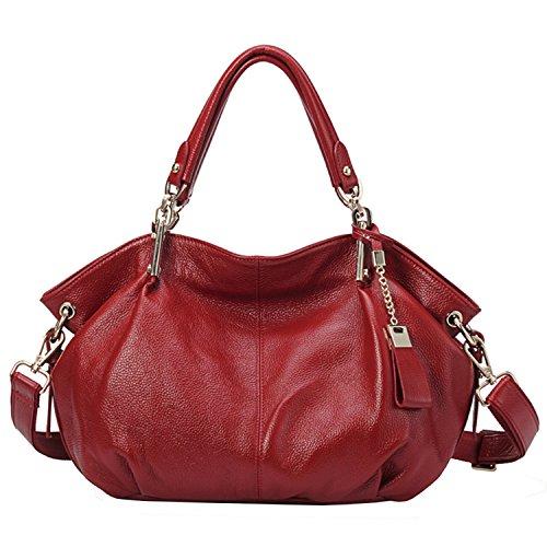 Echtes Leder Handtaschen für Frauen Soft Hobo Taschen Top-Griff Taschen Rindsleder Geschmeidige Totes Umhängetaschen (Wein) (Petite Hobo Handtasche)