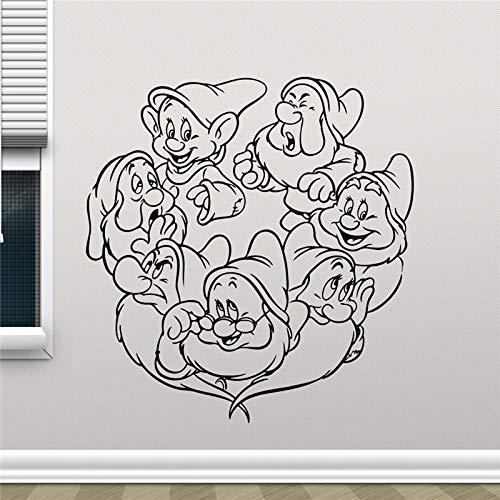Profile-nagel-trockner (xinyouzhihi Schneewittchen und die Sieben Zwerge Cartoon süßes Mädchen Vinyl Aufkleber Living Teen Kinderzimmer Wand Dekor Cool Nurse58 x 61 cm)
