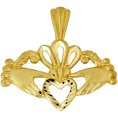 Piccoli Tesori - Collanae Pendente - - 14 ct 585/1000 Claddagh en Oro - 14k Claddagh Pendente