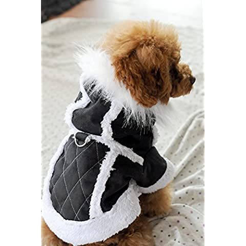 Artículos para mascotas Dog ropa Otoño/Invierno Hat Suede Jacket, Chaqueta negra , Xs