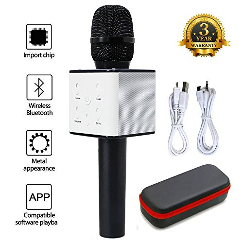 XPY&DGX Portable Wireless Handheld Microphone,Wireless Karaoke Microphone Karaoke Bluetooth Microphone,AUX Compatible with PC/iPad/iPhone/Smartphone,Home Outdoor Party Muisc Playing Singing Anytime